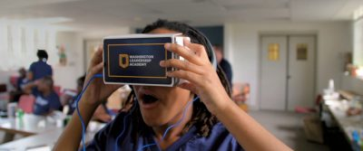 student learning VR